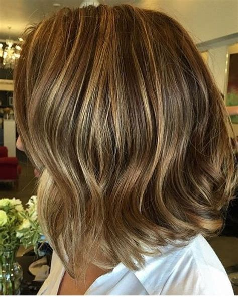 short hair highlights  caramel color