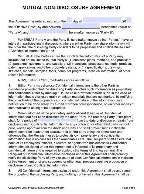 nondisclosure agreements templates