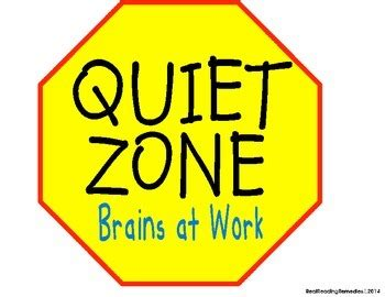classroom management quiet zone signs reading stop