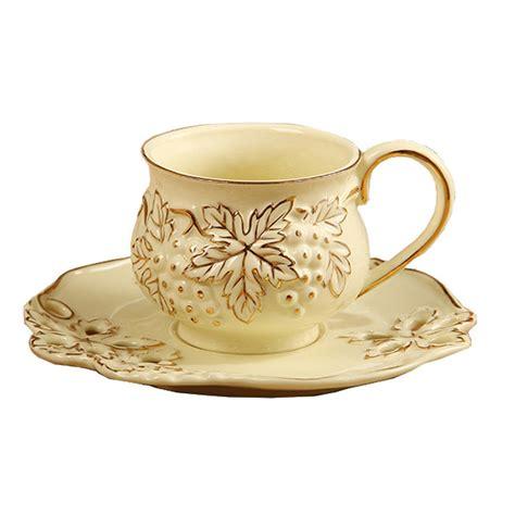 European Royal England Ivory Porcelain 2 Piece Tea Cup