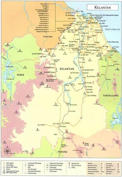 Kelantan Peta Malaysia Map Negeri Malaisie State