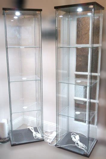 glass display cabinet with led lighting ikea detolf dioder