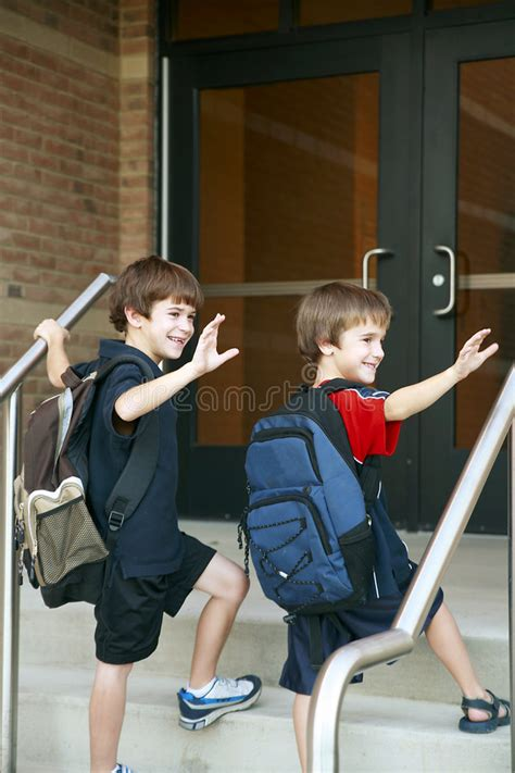boys going into school royalty free stock 3160368