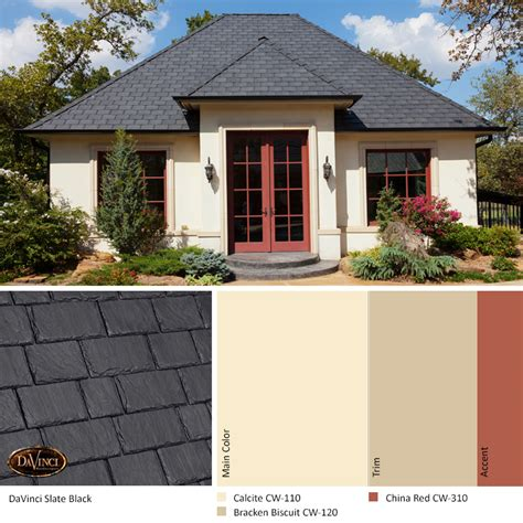 exterior color scheme slate black davinci slate roof