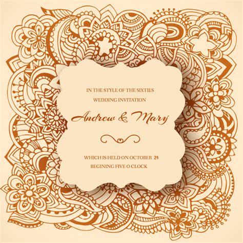 wedding invitation ornaments floral vector  vector