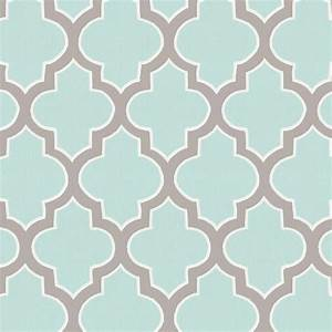 Mint and Taupe Hand Drawn Quatrefoil Fabric by the Yard