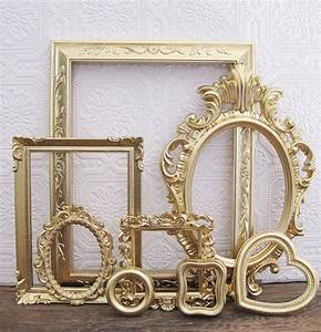 Open picture frame set of gray shabby chic wall decor