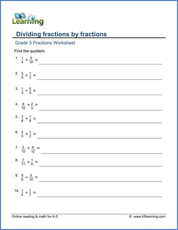 grade  math worksheets dividing fractions  fractions