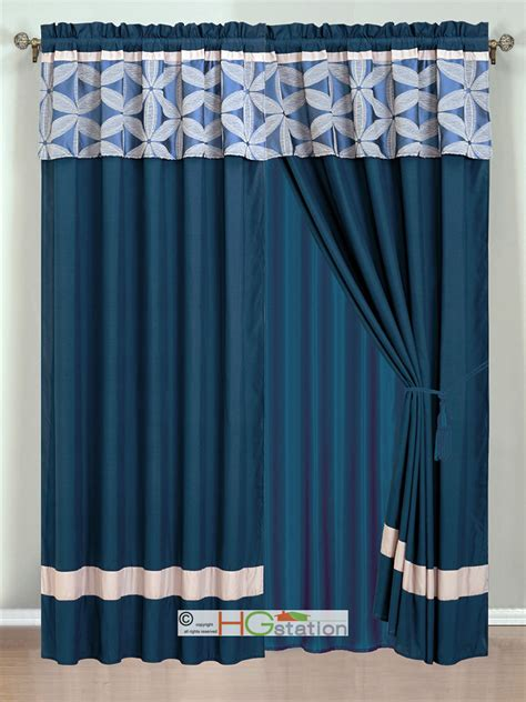 4p jacquard floral petal striped curtain set navy blue