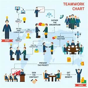 Teamwork infographic set with business avatars and world ...