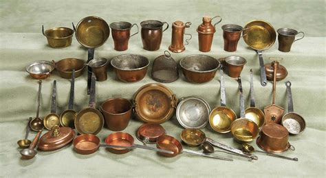 peoples lives  collection   antique copper  brass utensils  doll house kitchens