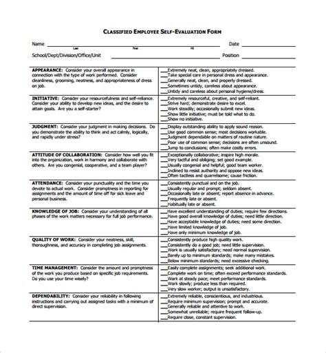 Sample Employee Self Evaluation Form 8 Free Documents
