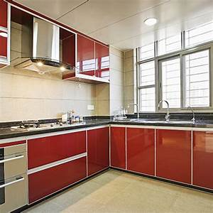 Yazi gloss red pvc self adhesive kitchen cupboard for Kitchen colors with white cabinets with yosemite sticker