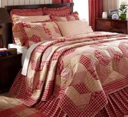 country red plaid 3p full queen quilt set breckenridge rustic checks comforter ebay