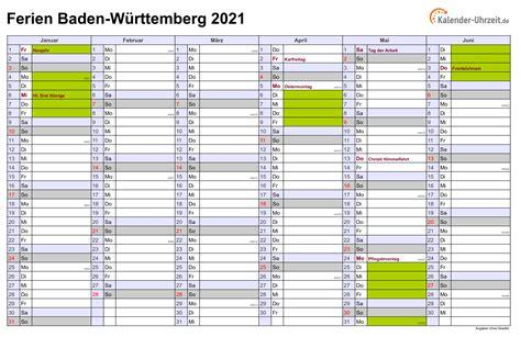 Kalender baden württemberg 2021 download als pdf oder png. Ferien Baden-Württemberg 2021 - Ferienkalender zum Ausdrucken