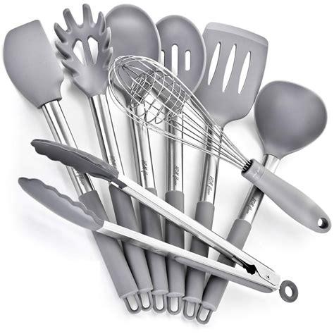 kitchen silicone utensils steel stainless cooking utensil nonstick tool scratch non gadgets spatulas piece miusco grey pans pots amazon farberware