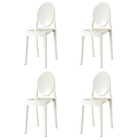 set of 4 style ghost dining chair white color
