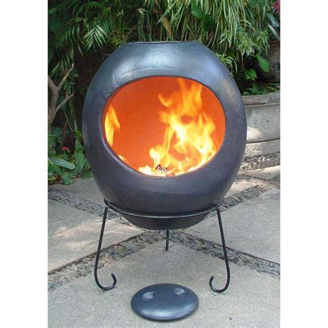 Chiminea On Sale - gardeco ellipse clay chiminea charcoal grey 90cm on sale