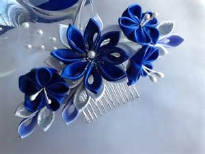 navy blue corsage hair comb royal blue cobalt blue silver and by lihinicreations