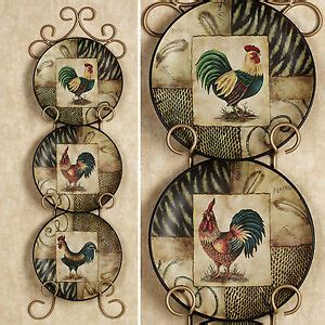 decorative rooster plates set   roosters plate kitchen dining room wall decor ebay