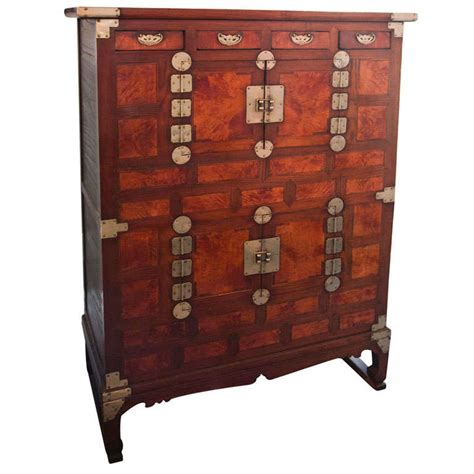 Antique Asian Iron Gated ,cedar Wood Tea Cabinet At 1stdibs