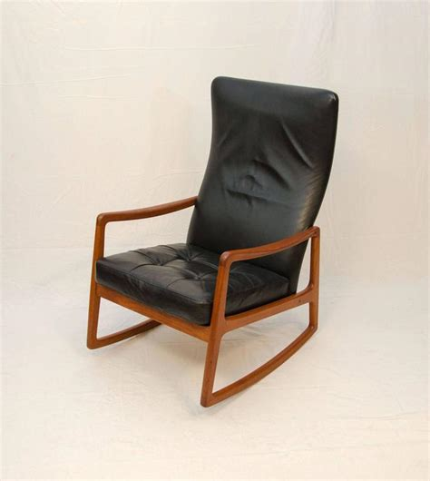 teak and leather high back rocking chair by ole