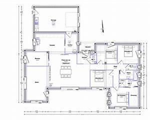 plan maison plain pied 4 chambres 150m2 With plan appartement 150 m2 7 plan maison moderne 120m2