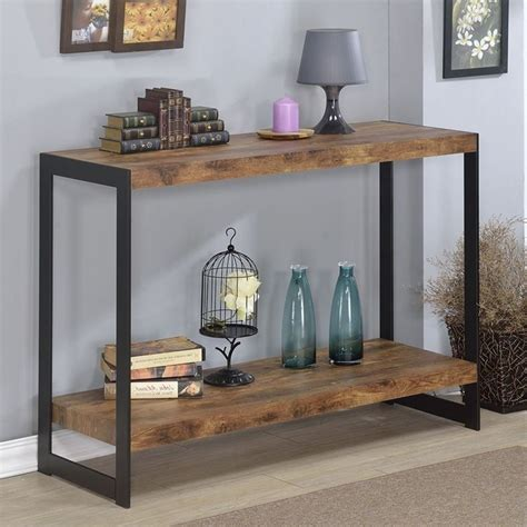 wood metal console table rustic wood and metal console table console table wood