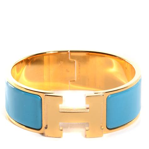 hermes enamel clic clac h wide bracelet pm bleu azure 79443