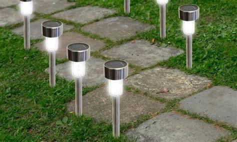 solar walkway lights bright led solar garden path lights 12 pack groupon