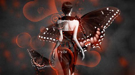 fantasy butterfly dress girl  heart bubble neon style