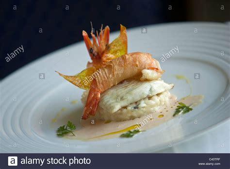 nouveau cuisine nouvelle cuisine gourmet fish and seafood dish stock photo