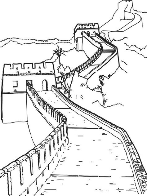 Muur Kleurplaat by N Kleurplaat Wereld Wonderen Muur China