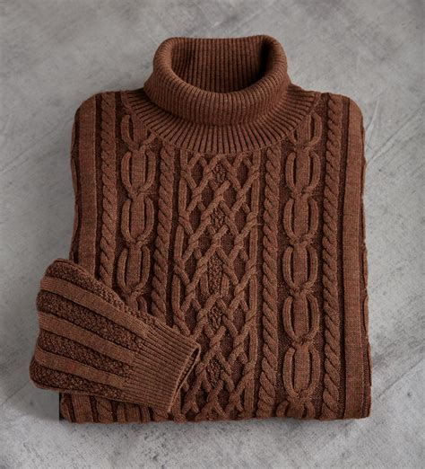 fisherman s sweater lenor romano fisherman cable knit wool turtleneck sweater