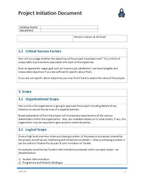 project documentation template project initiation document template ape