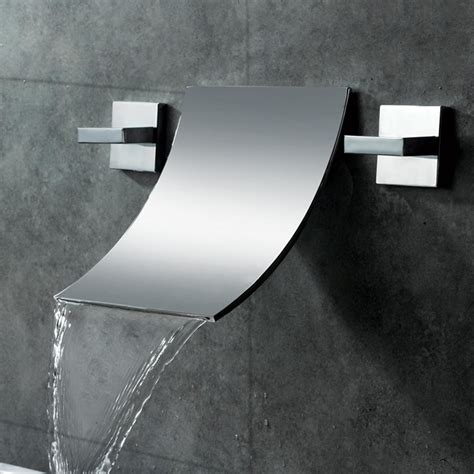 design on tap shoop waterfall wall mounted bathroom sink faucet
