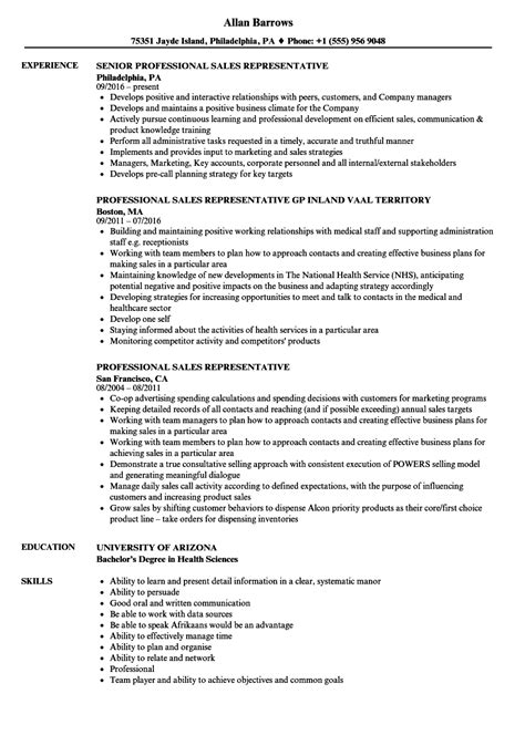 Professional Resume Sles by Professional Sales Representative Resume Sles Velvet