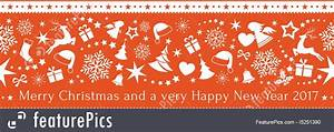 Seamless Red Border With Merry Christmas And Happy New ...
