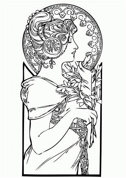 Coloring Nouveau Pages Adults Adult Drawing Woman
