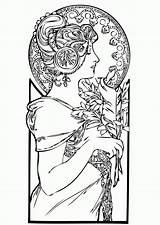 Coloring Nouveau Adults Adult Femme Coloriage Mucha Colorare Adulti Disegni Books Dessin Coloriages Erwachsene Malbuch Justcolor Fur Alphonse Colorear Colouring sketch template