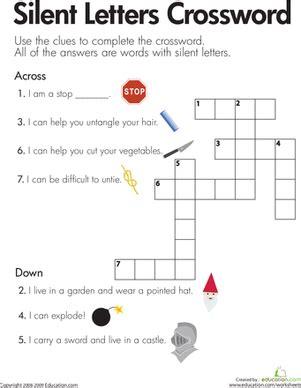 silent letters crossword worksheet education