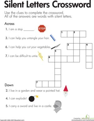 Silent Letters Crossword  Worksheet Educationcom