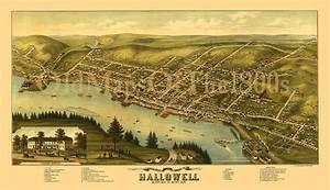 Hallowell maine in bird s eye view map aerial