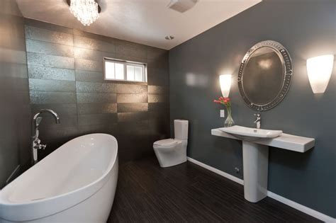 Modern Gray Bathroom Remodel-eclectic-bathroom-los