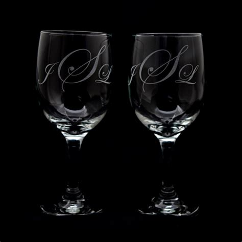 Personalized Barware Glasses by Personalized Wine Glasses Custom Etched Glass Set Of 2