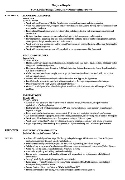 Ios Developer Resume by Ios Developer Resume Sles Velvet