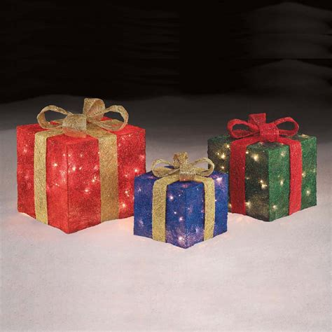 trim a home 174 set of 3 140ct presents red green blue