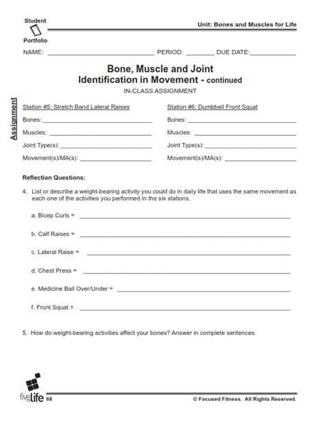 printables physical education worksheets for middle
