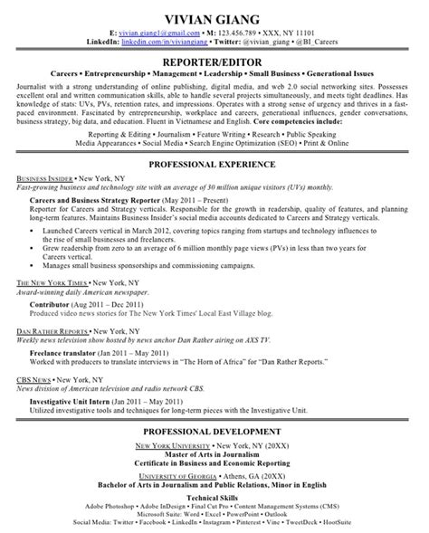 Excellent Resume Exles 2013 by How To Write An Excellent Resume Business Insider