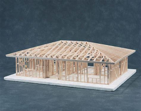hip roof house framing kit cat      scale kit    bedroom